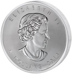 """Монета номиналом 5 долларов """"Кленовый лист"""""""