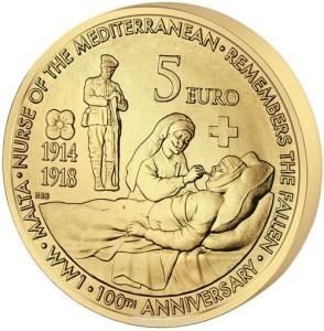 """Монета номиналом 5 евро """"100 лет с начала Первой мировой войны"""""""
